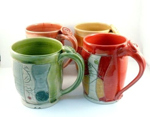 Coffee Carved Glazed Made Artistic Buy Set Hand And Mugs Four XuOPkiZ