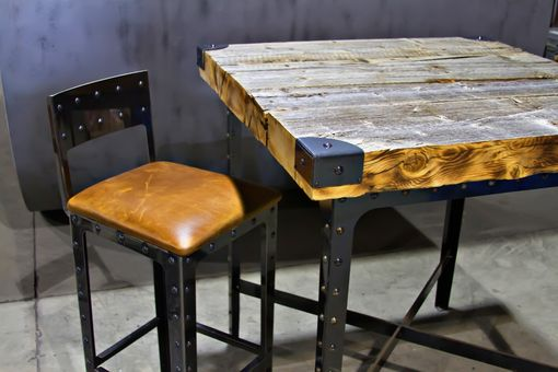 Custom Made Industrial Pub Height Table & Bar Stools
