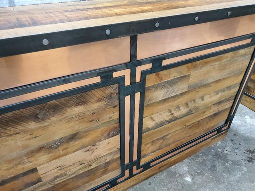 Custom Made Copper Inlay Reception Desk