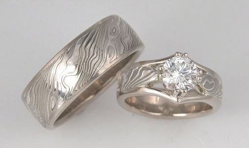 Custom Made Custom 14k Palladium White Gold And Sterling Wedding Mokume Gane Rings