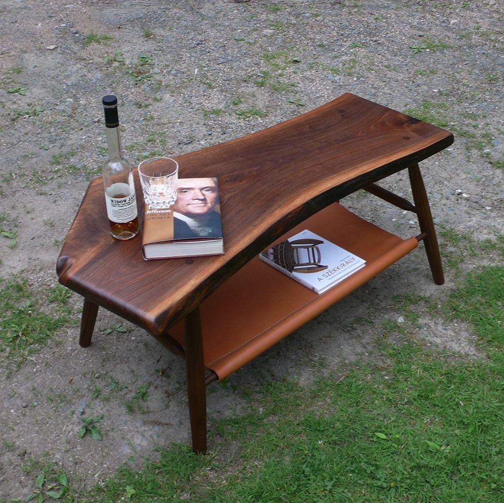 Custom Made Walnut Coffee Table Live Edge With Hand