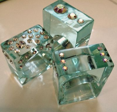 Custom Made Fashion Statement Rings Lucite And Swarovski Crystals