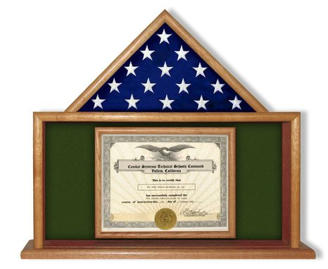 Custom Made Usmc Flag Certificate Display Case