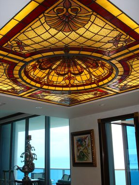 "Custom Made Stained Glass Dining Room Ceiling In A Highrise Condo Tower With Little Room To Spare Considering The Depth Of The Opening At 15""  And The Rise Of Our 4' Diameter Dome At 12"".  This Ceiling Fixture Was A Success"