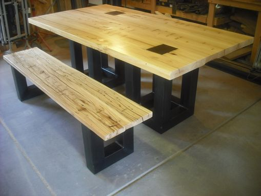 Custom Made Salvaged Hand Hewn Dining Table And Bench