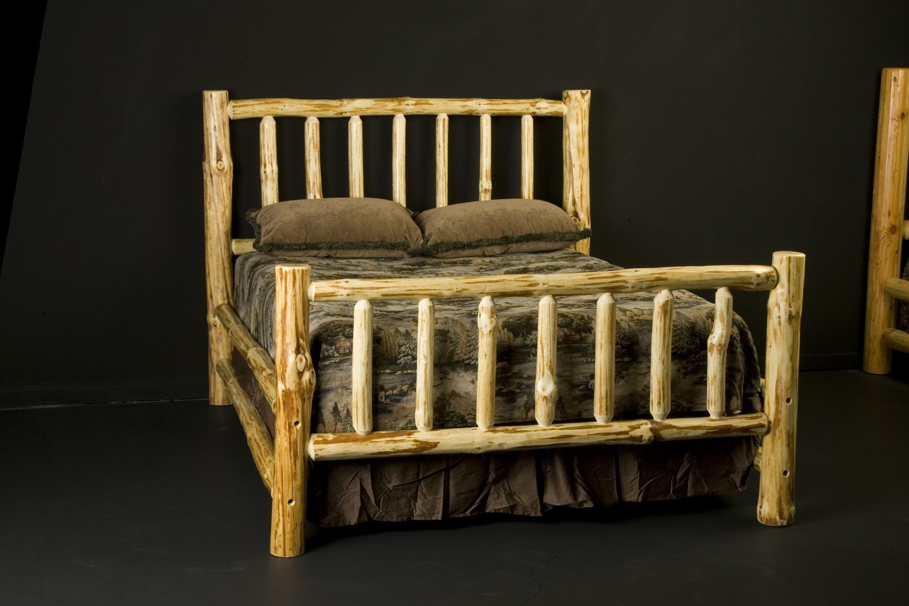 custom made wilderness log bed frame