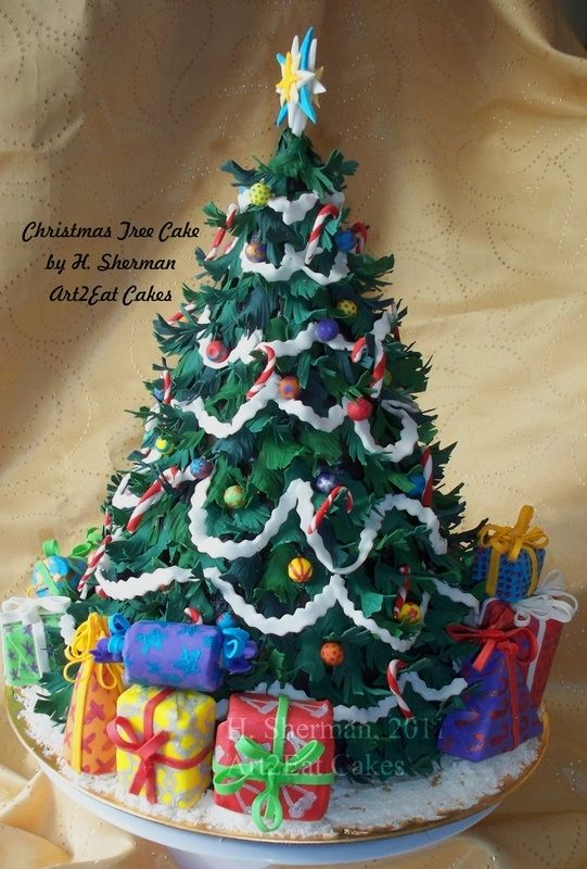 Cake Art Llc : Hand Made Christmas Tree Cake Art by Art2eat Cakes Llc ...