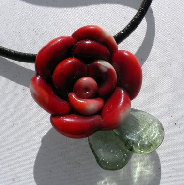 Custom Made Opaque Red And White Glass Rose Necklace With Leather Neck Strap