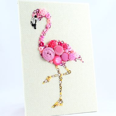 Custom Made Pink Flamingo Button Art Wall Hanging
