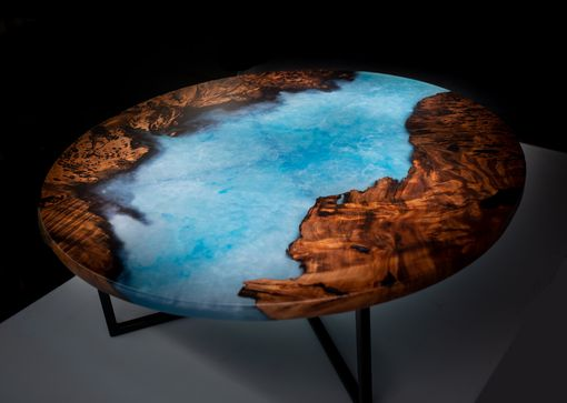 Custom Made Round Redwood And Blue Epoxy Coffee Table With Powder Coated Steel Base