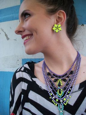 "Custom Made Neon Yellow Earrings ""Meadow''"