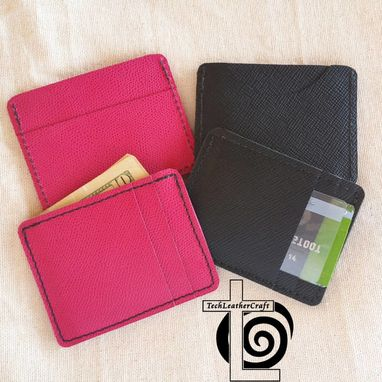 Custom Made Slim Wallet (Multi-Pocket) Pink Or Black Saffiano Leather