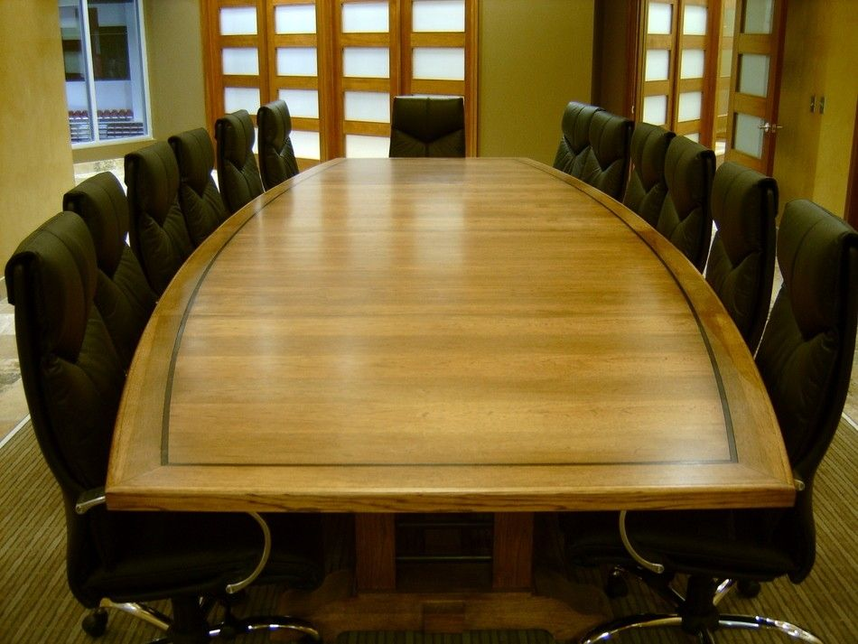 Hand Made Foot Hickory And Steel Conference Table By Jeffrey - 15 foot conference table