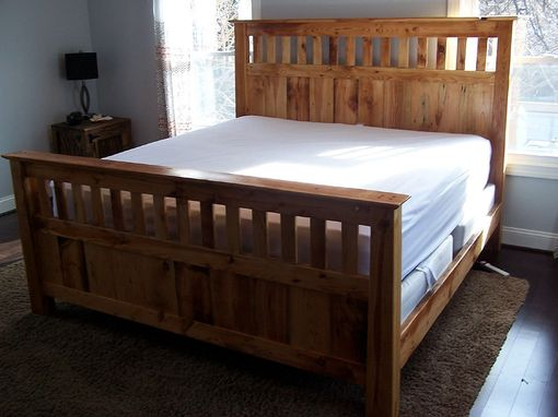 Custom Made Vintage Reclaimed Wood Mission Style Bed Frame
