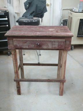 Custom Made Red Barnwood Accent Table With Roster Handle