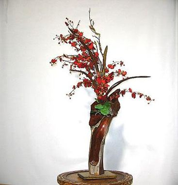 Custom Made Tall Oncidium In Redwood Vase