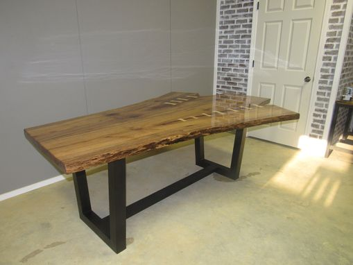 Custom Made Dining Table Live Edge, Red Oak Book Matched Slab With Pecan Butterflys
