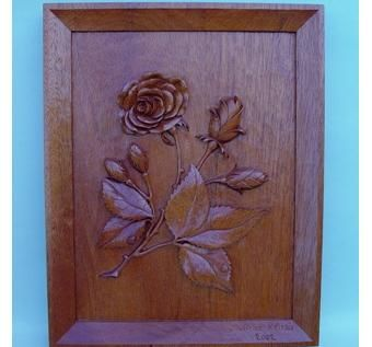 Custom Made Framed And Carved Rose