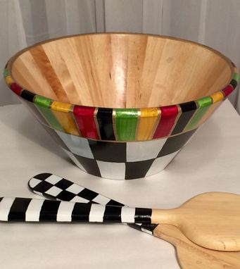 Custom Made Painted Bowl//Wooden Salad Bowl Hand Painted With Matching Utensils//Decorative Bowl