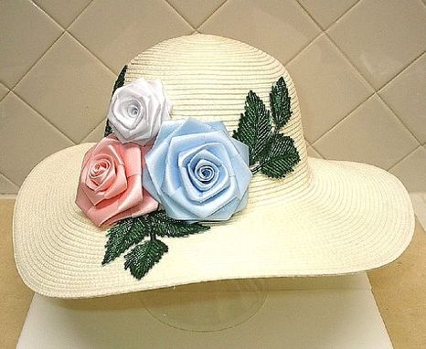 Custom Made Panama Hat With Ribbon Roses And Bead Leaf Appliques