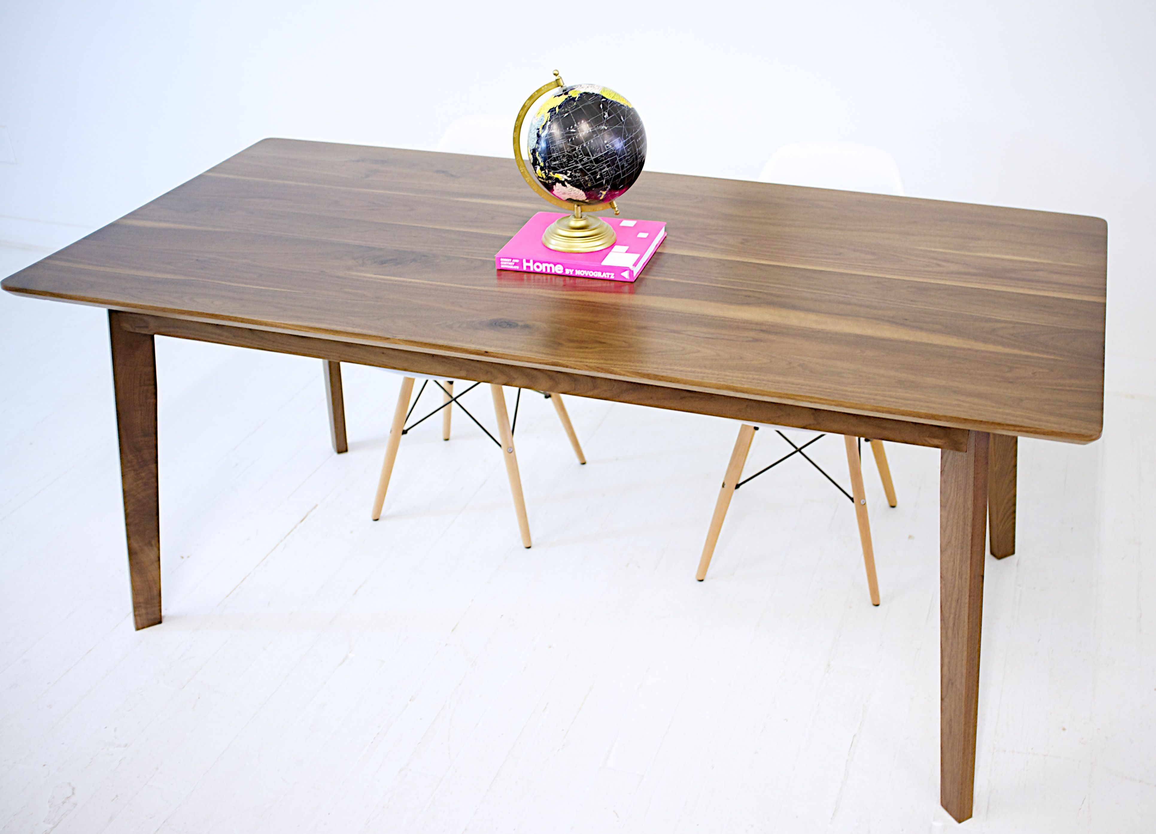 buy a hand crafted the bossa nova solid walnut mid century modern dining table made to order. Black Bedroom Furniture Sets. Home Design Ideas