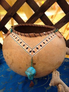 Custom Made Art Gourd With Inlaid Veneer And Driftwood Base