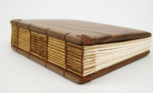 Custom Made Handmade Journal - Unique Wood Book Black Walnut - Wedding Guest Book - Brown Yellow Fall