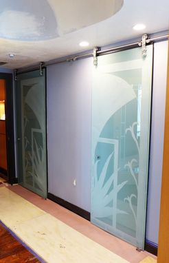 Custom Made Carved Glass Doors