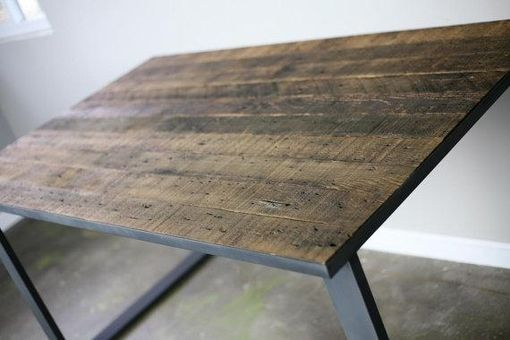 Custom Made Modern Industrial Dining Table/Desk. Reclaimed Wood Top & Steel Base. Distressed Style, Office Desk
