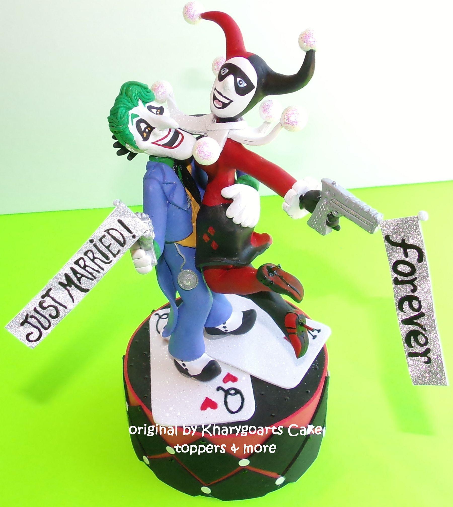 Handmade The Joker And Harley Quinn Wedding Cake Topper By