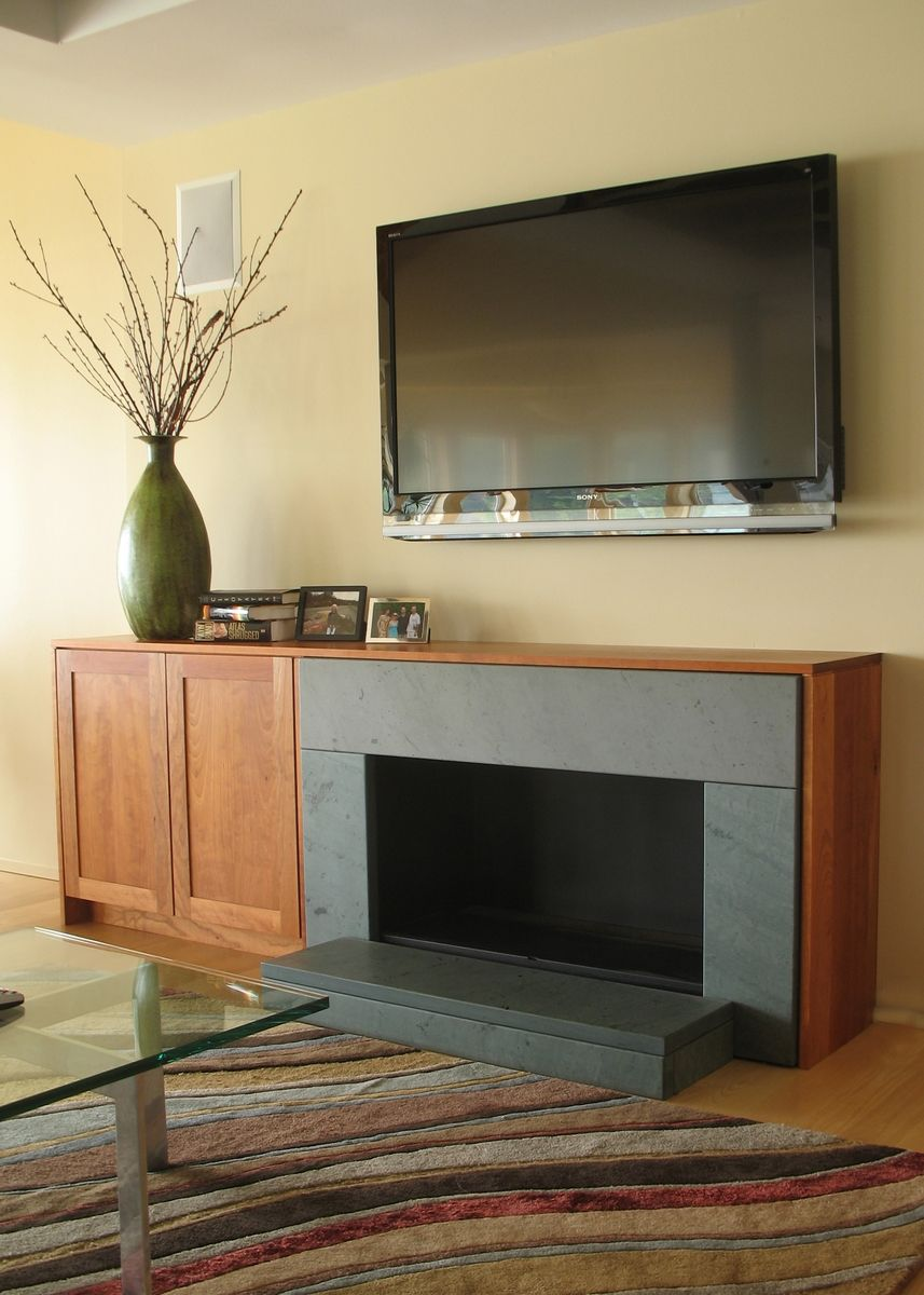 hand made cherry tv cabinet and fireplace surround by ober