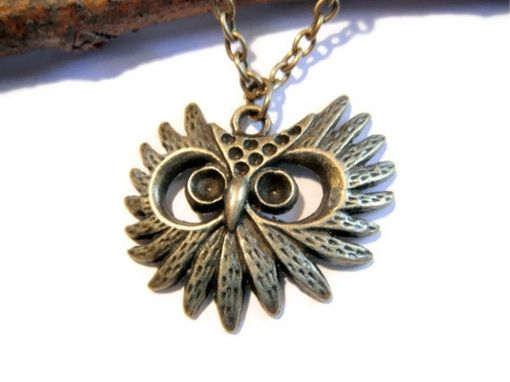 Custom Made Owl Head Necklace - Antiqued Brass Owl Head Necklace