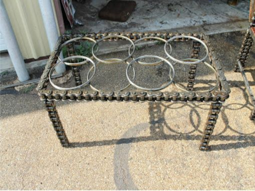 Custom Made Coffee Table Sculptural Furniture, Metal Chain Industrial Chic Accent