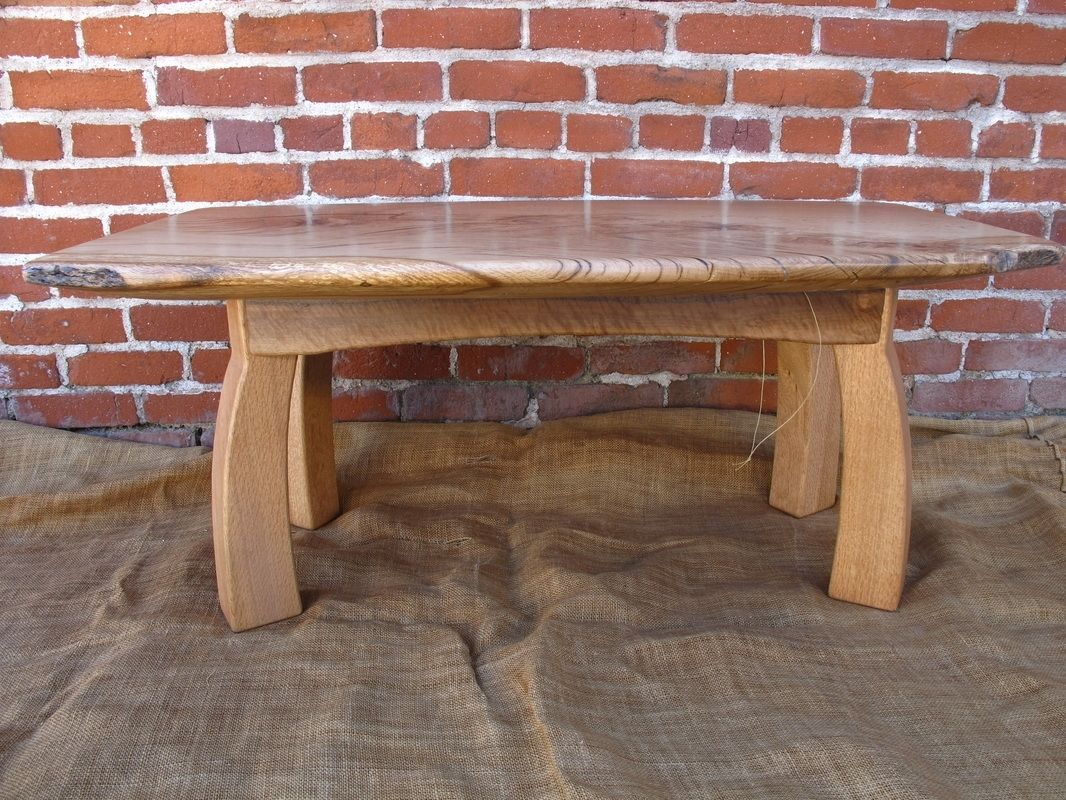 Custom Made Valley Oak Slab Coffee Table With Curved Legs