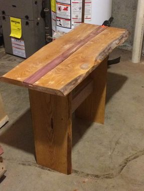Custom Made Live Edge Hemlock Side Table With Red Cedar Inlay