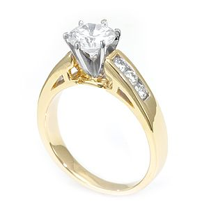 Custom Made Diamond Engagement Ring In 14k Yellow Gold, Proposal Ring, Wedding Ring