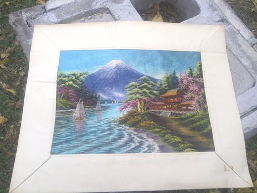 Custom Made Vintage Silk Embroidery With Landscape Scene