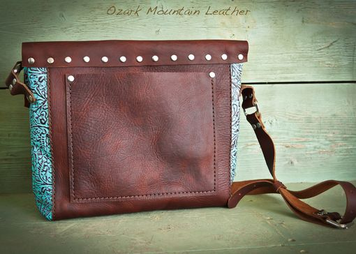 Custom Made Bison Leather And Turquoise Skeleton Key Bag Or Purse.