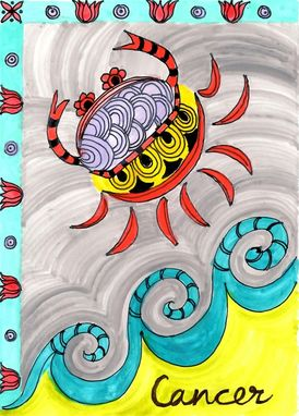 "Custom Made Cancer Zodiac Sign Print Ink And Acrylic Painting 5""X7"" Element Water"
