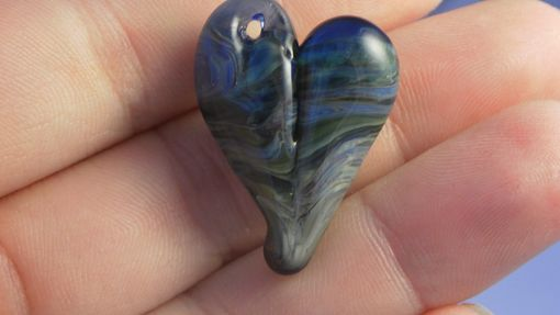 "Custom Made Hand-Blown Glass Heart Pendant In Blues And Tans ""Earth View''"
