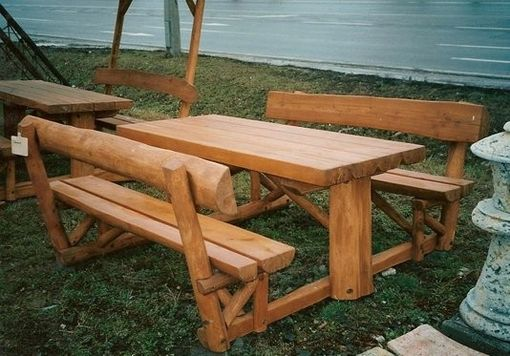 Custom Made Picnic Table With Fixed Benches