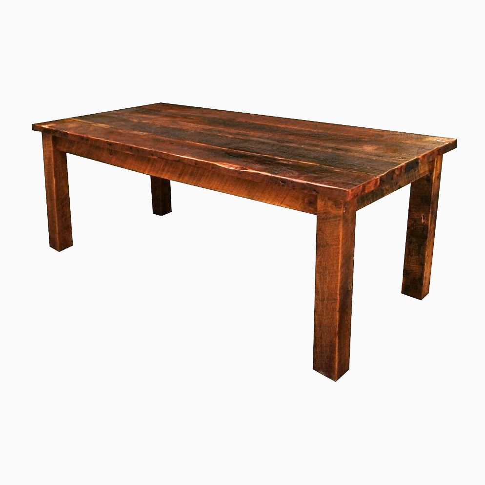 Buy a hand crafted antique reclaimed wood farmhouse dining for Hardwood dining table