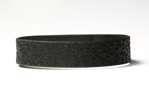 Custom Made Black Leather Choker - Latigo - Embossed With Thorns - Ebony And Brass Fasteners