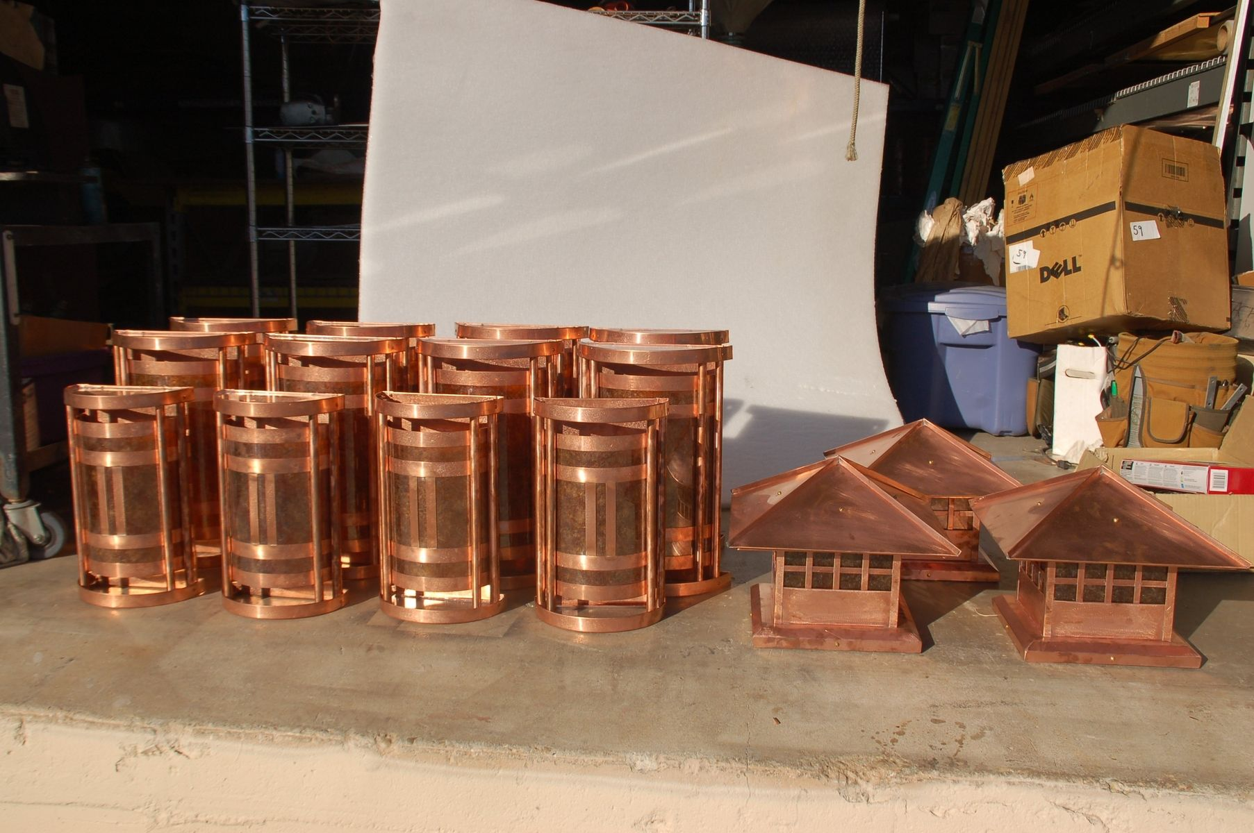 Handmade Custom Copper And Mica Wall Sconces And Post Lanterns By