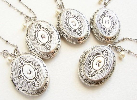 acca2adcc3 Custom Made Double Sided Locket Necklace, Initial Locket Necklace,  Bridesmaid Jewelry, Set Of