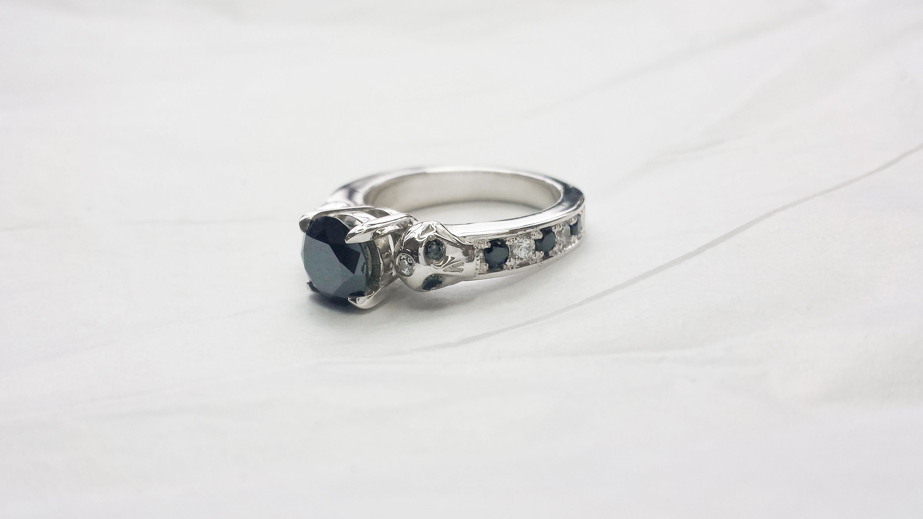 Buy a Hand Made Black White Diamond Skull Engagement Ring made