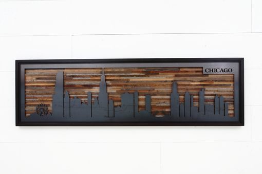 Custom Made Wall Art Of A City Skyline Made From Reclaimed Barnwood And Natural Black Steel.