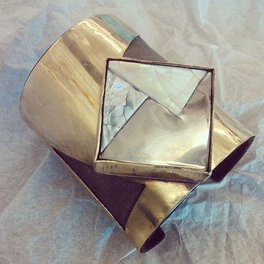 Custom Made Bronze, Leather & Mother-Of-Pearl Cuff Bracelet