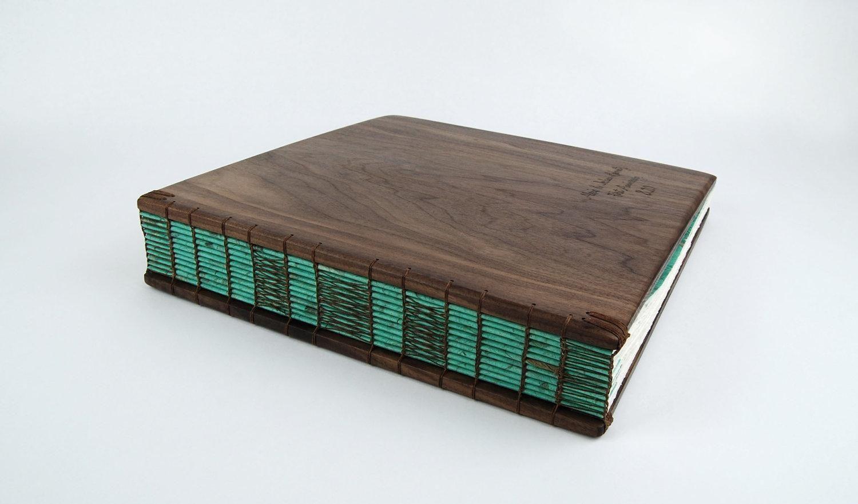hand made custom anniversary photo album unique wood book in black
