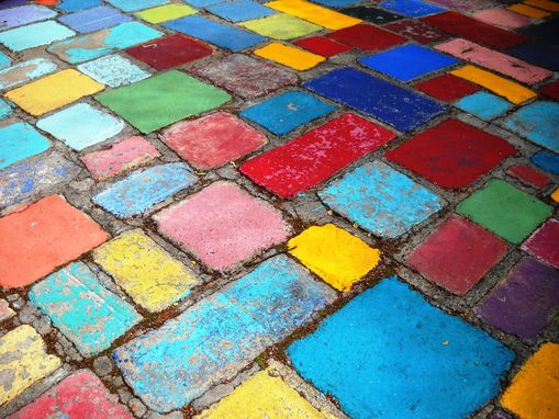 Custom Made Painted Spanish Tiles, Blue, Yellow And Red Photo Art Print On Aluminum